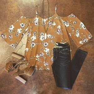 Tops - Floral Yellow Off the Shoulder Blouse